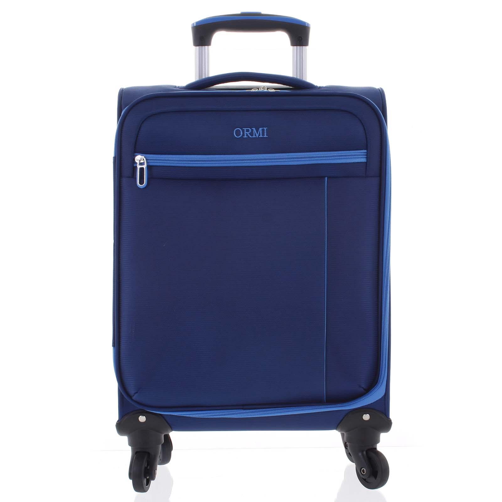 Kvalitný elegantný látkový modrý cestovný kufor - Ormi Mada S modrá