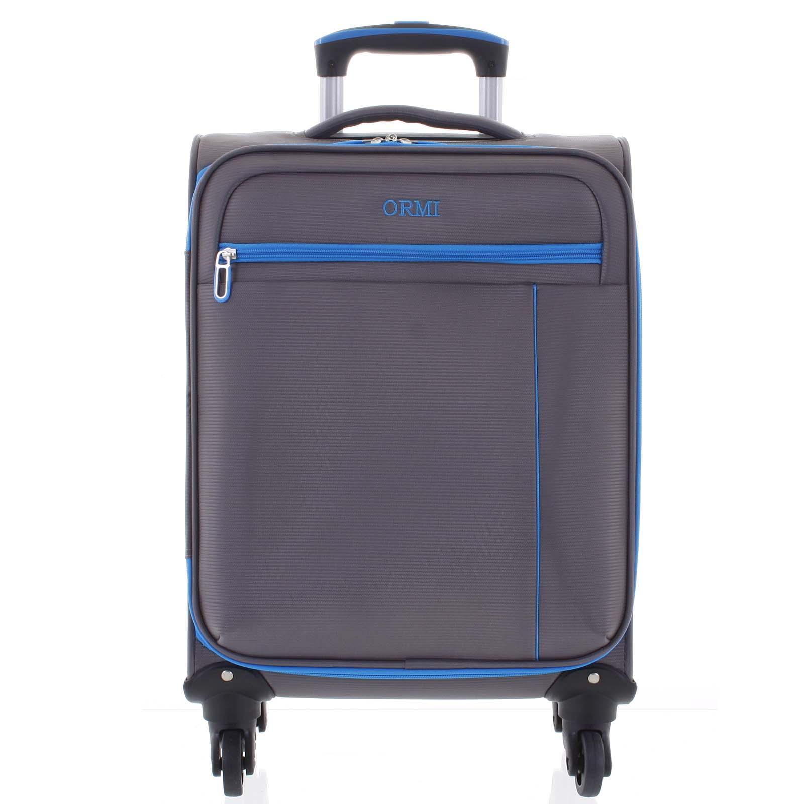 Kvalitný elegantný látkový sivý cestovný kufor - Ormi Mada S šedá