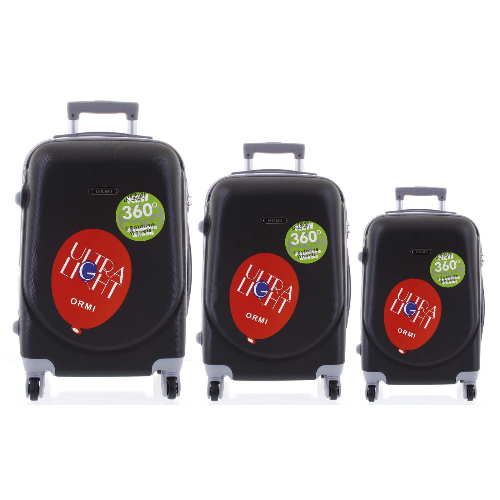 Pevný cestovný kufor čierny sada - Ormi Evenger S, M, L čierna