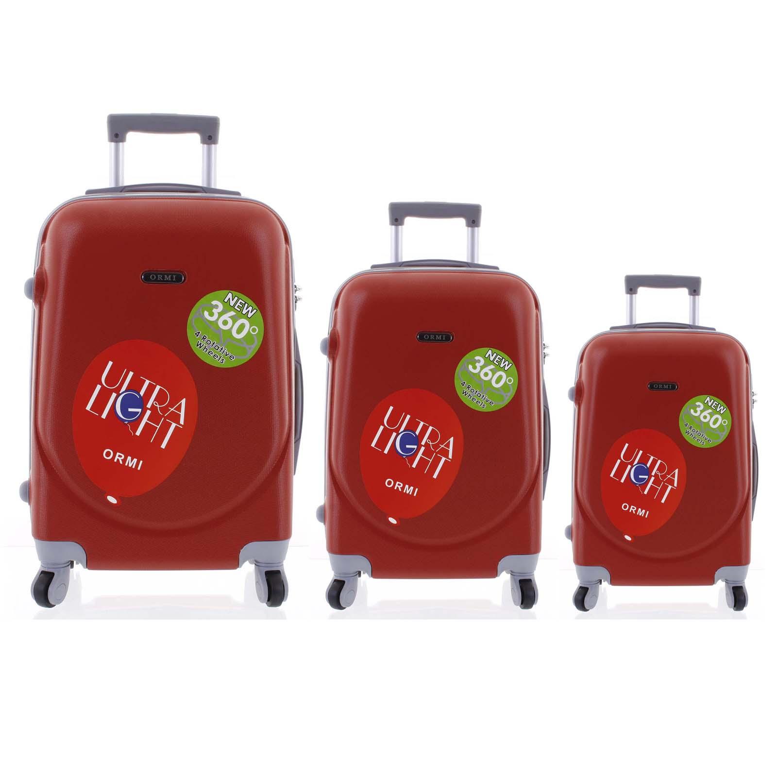 Pevný cestovný kufor červený sada - Ormi Evenger S, M, L červená