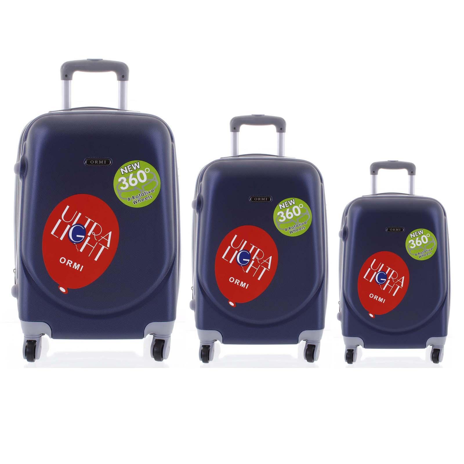 Pevný cestovný kufor modrý sada - Ormi Evenger S, M, L modrá