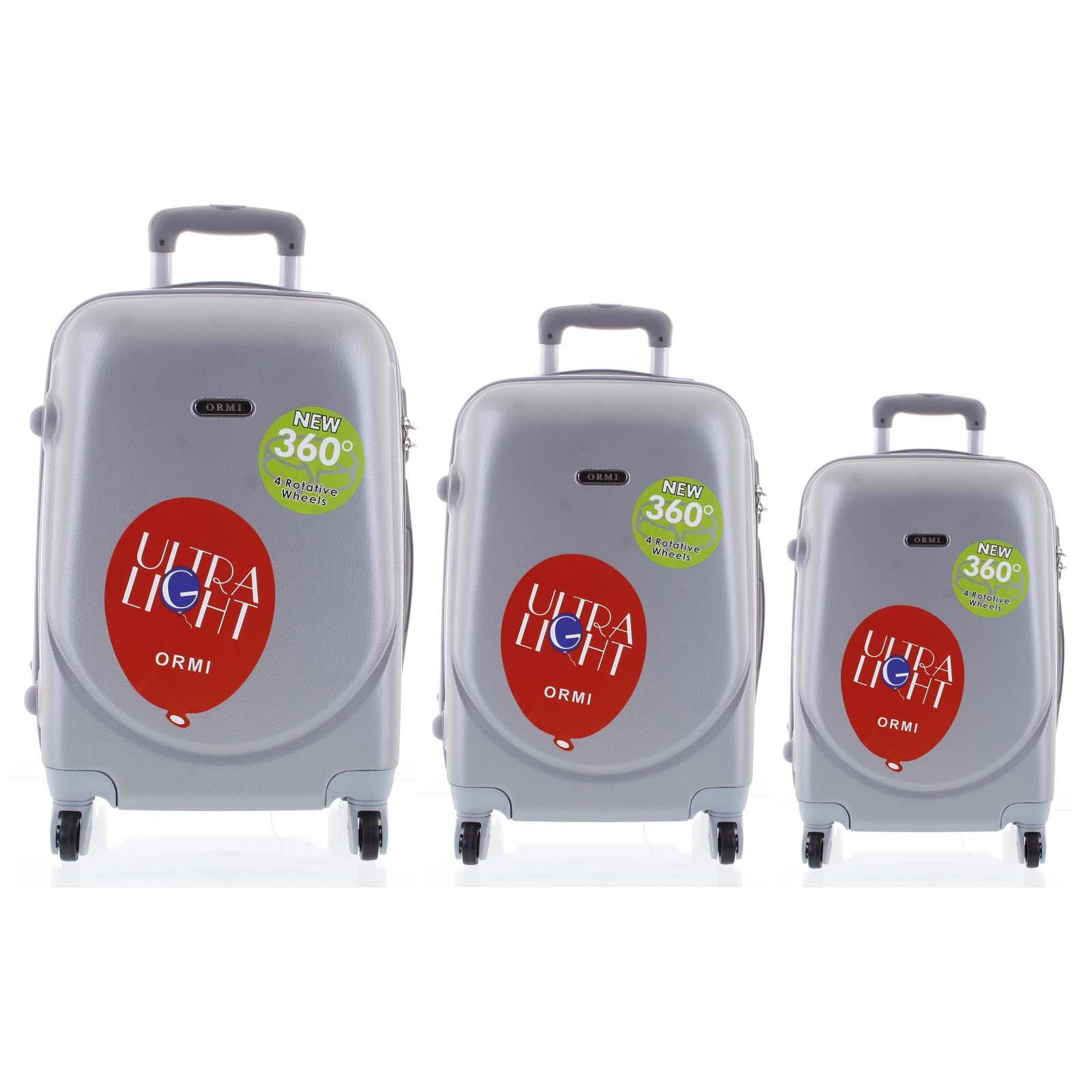 Pevný cestovný kufor svetlosivý sada - Ormi Evenger S, M, L šedá