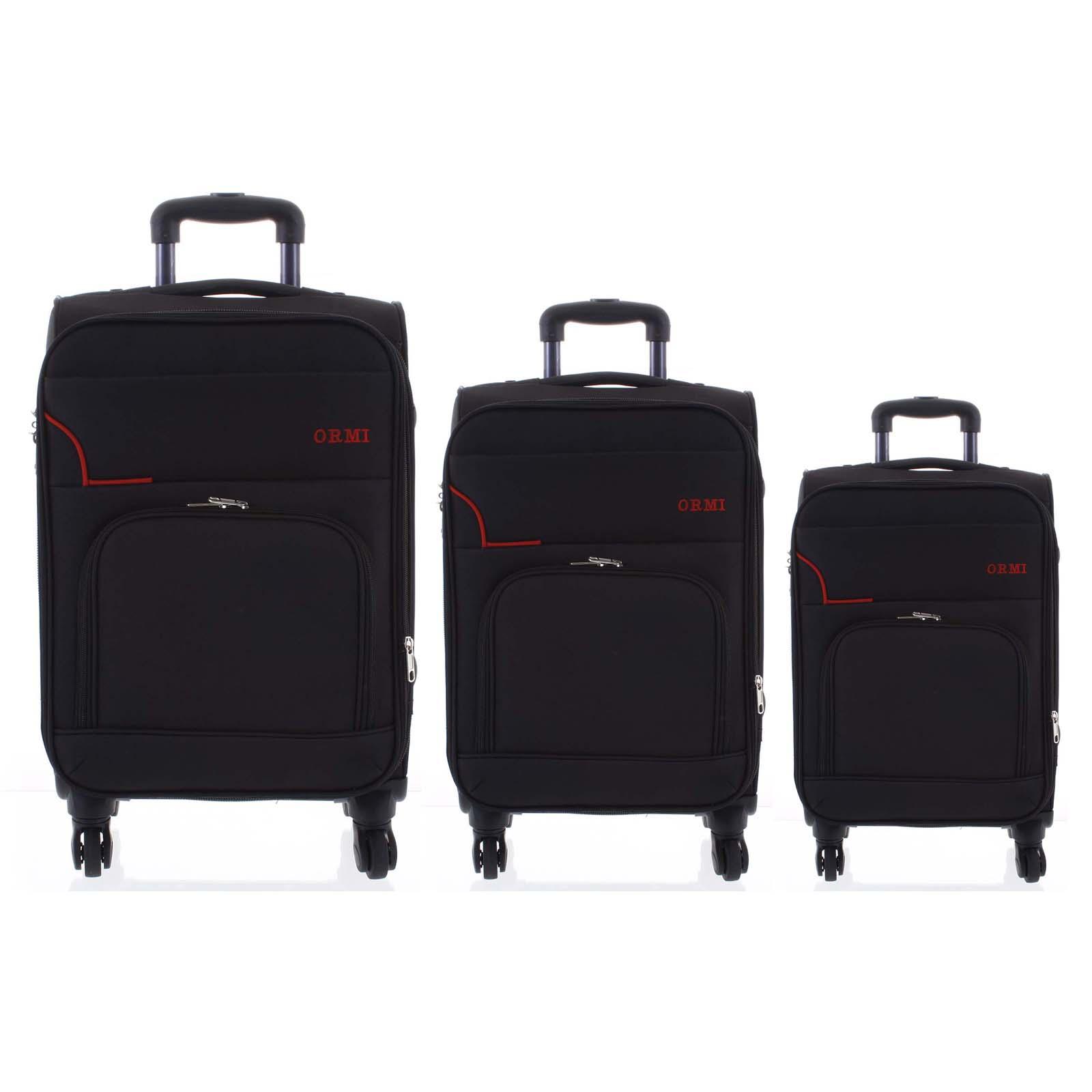 Cestovný látkový čierny kufor sada - Ormi Nitire S, M, L čierna