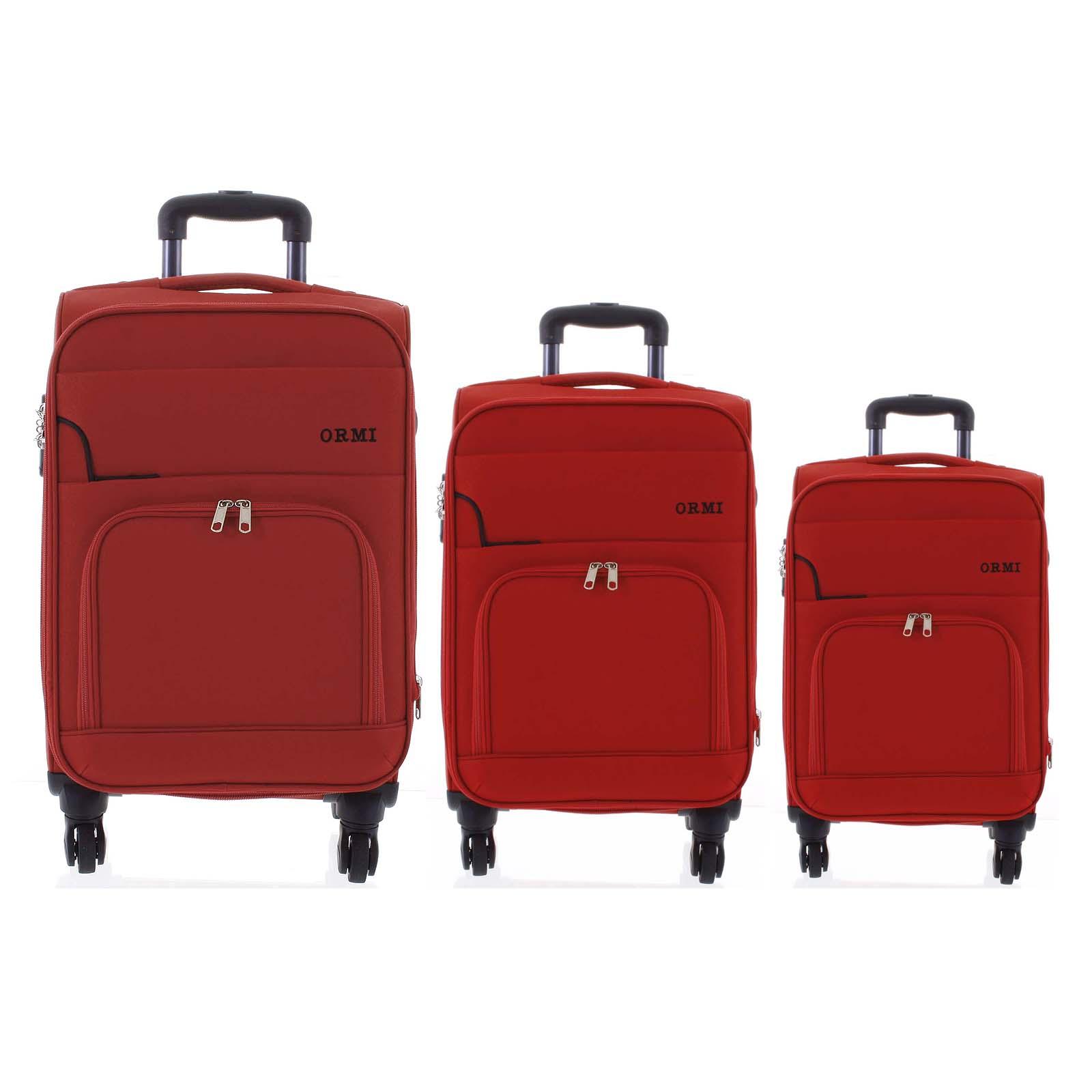 Cestovný látkový červený kufor sada - Ormi Nitire S, M, L červená