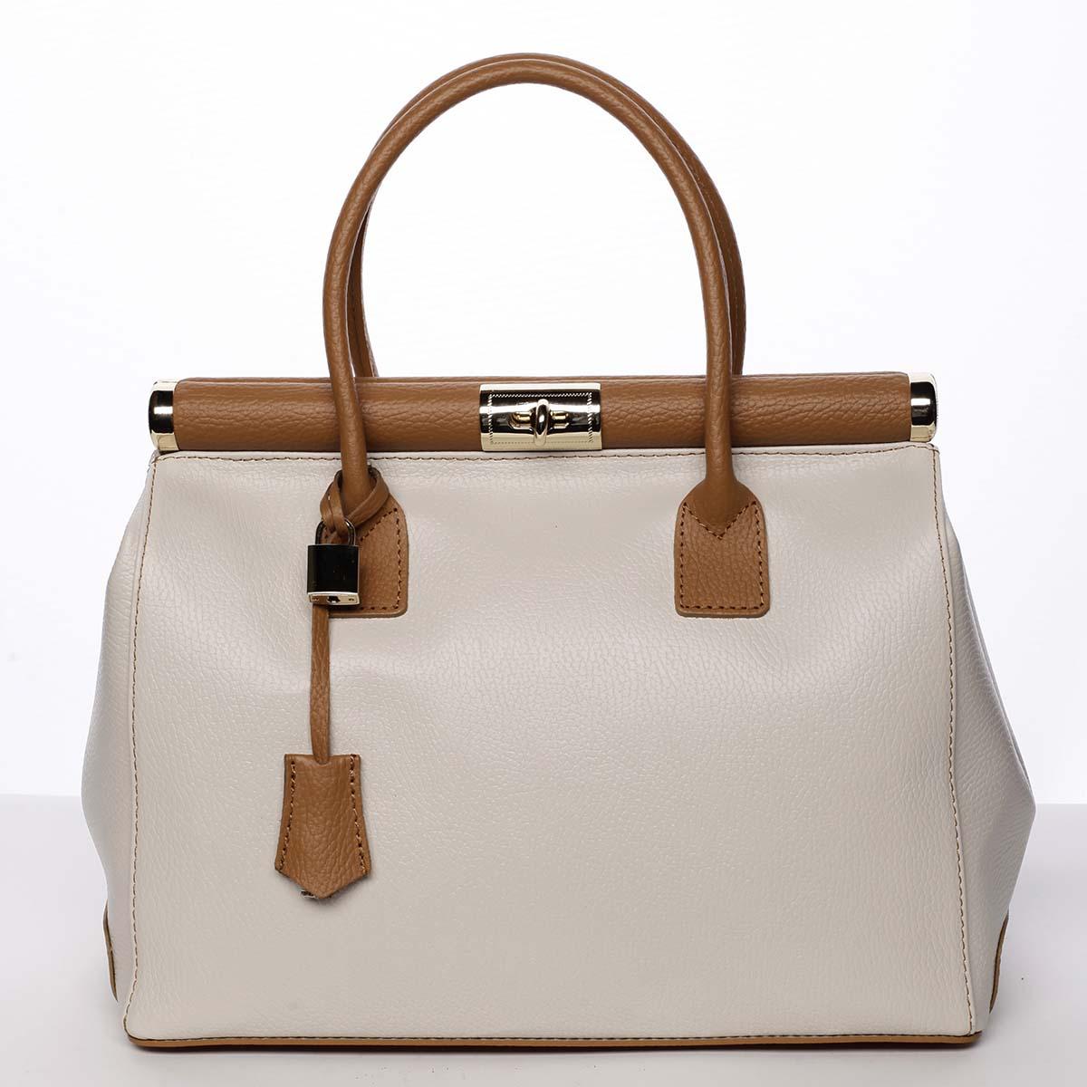Originálna módna dámska kožená kabelka do ruky béžová - ItalY Hila béžová