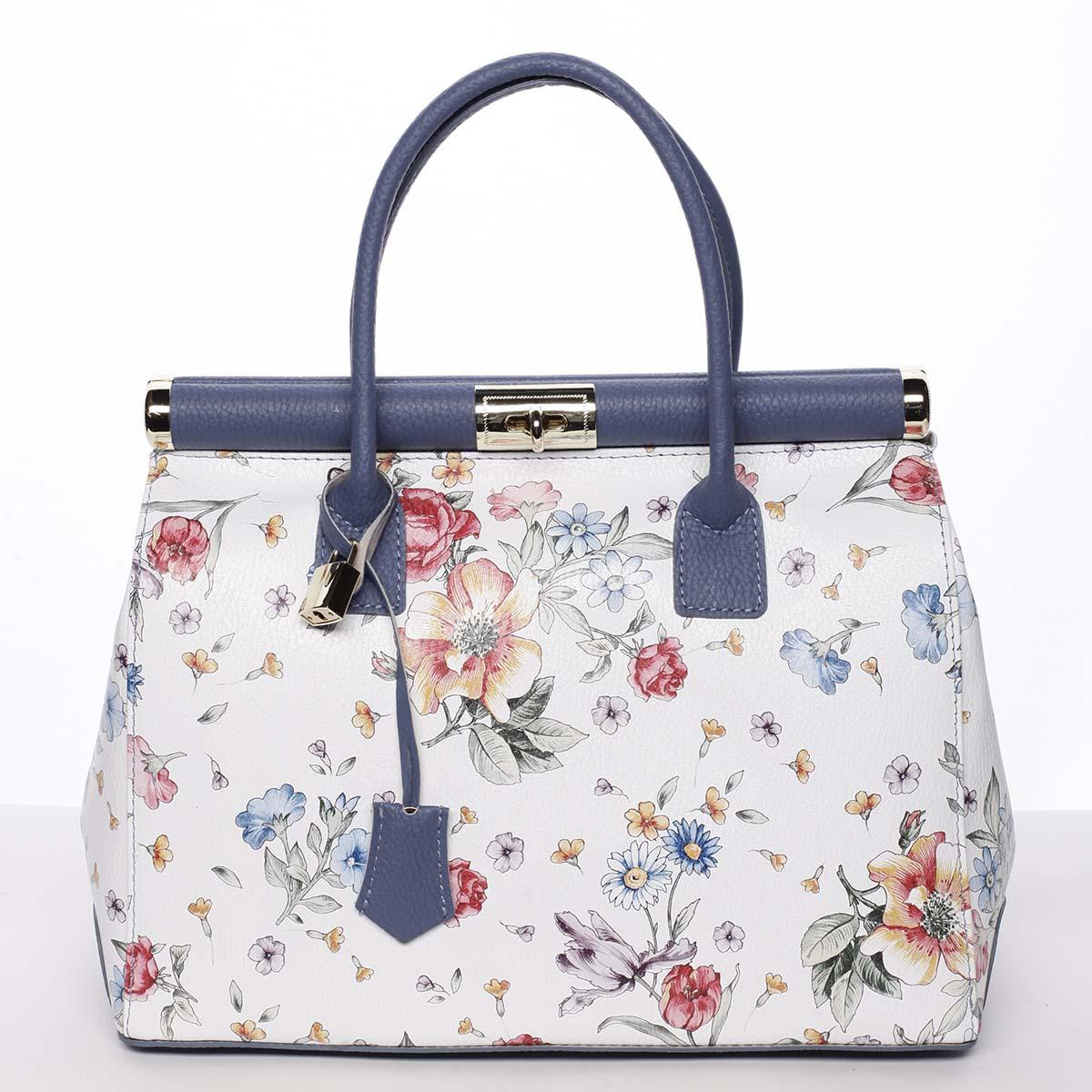 Originálna módna dámska kožená kabelka do ruky modrá kvetovaná - ItalY Hila modrá