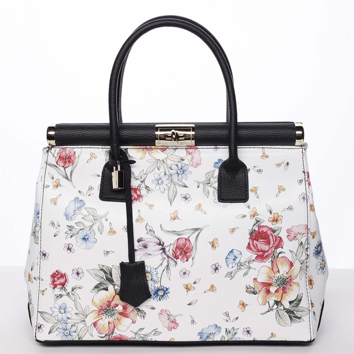 Originálna módna dámska kožená kabelka do ruky čierna kvetovaná - ItalY Hila čierna