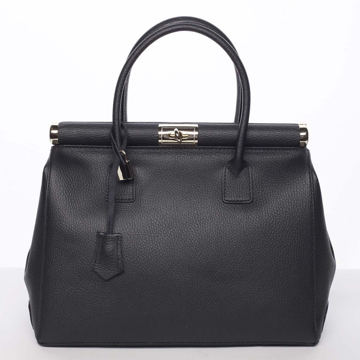Originálna módna dámska kožená kabelka do ruky čierna - ItalY Hila čierna