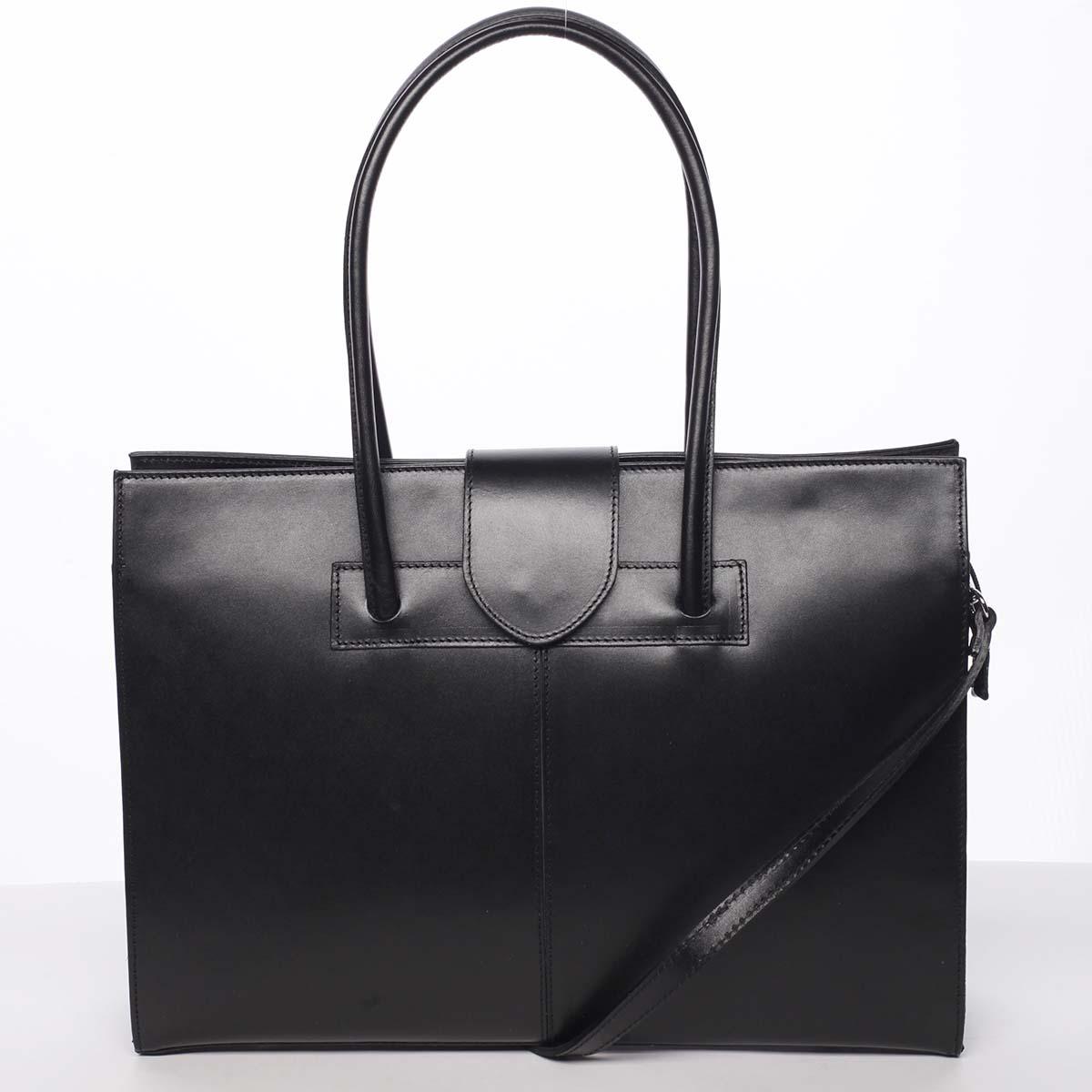 Elegantná a módna dámska kožená kabelka čierna - ItalY Alison čierna