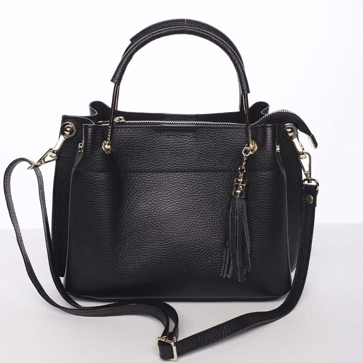 Exkluzívna dámska kožená kabelka čierna - ItalY Maarj čierna
