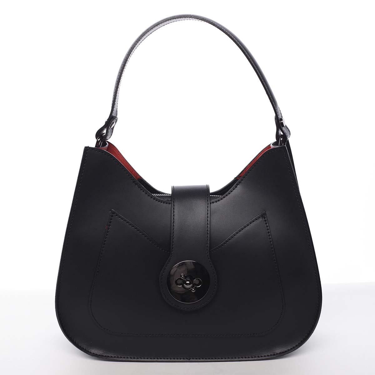 Luxusná dámska kožená kabelka čierna - ItalY Fatima čierna