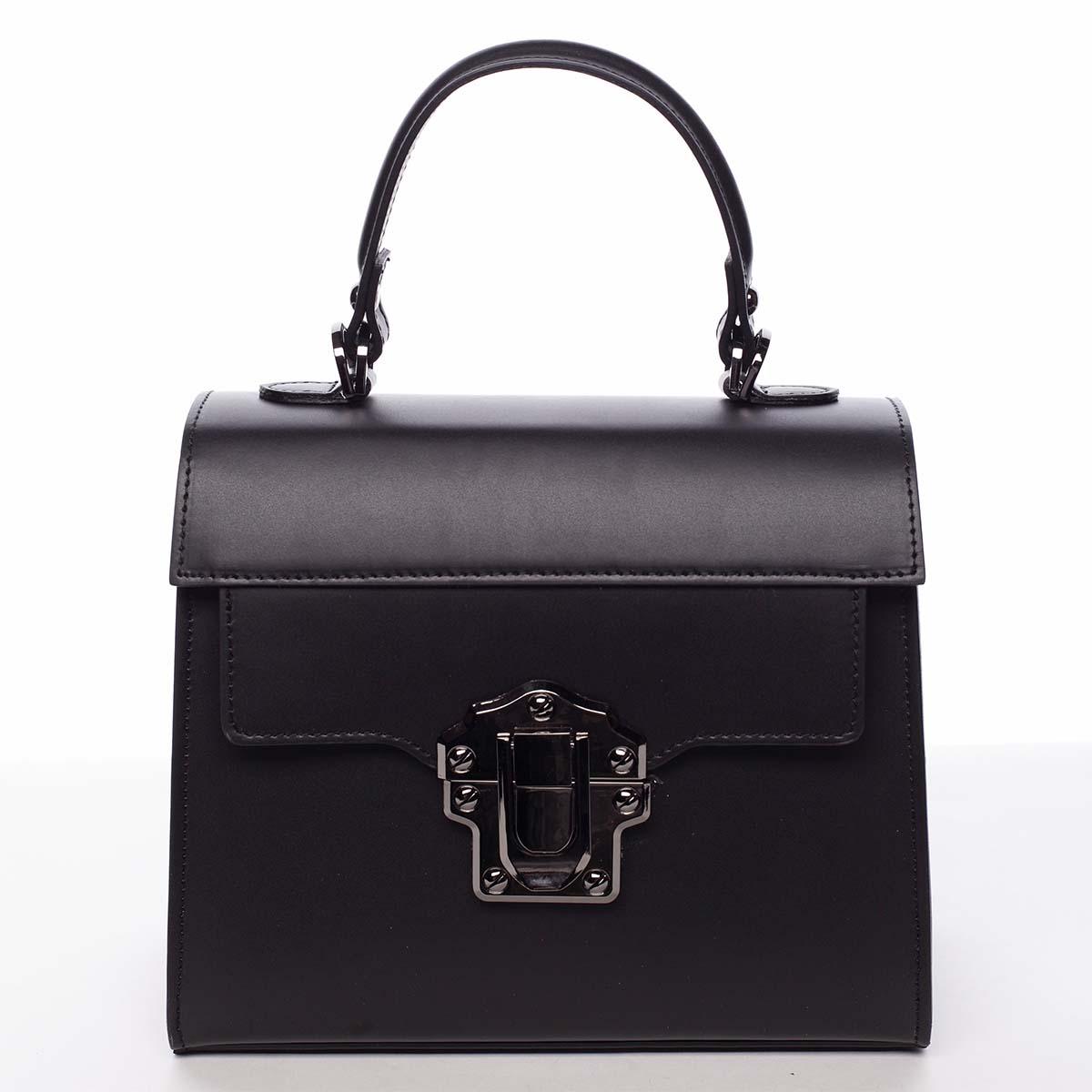 Exkluzívna módna dámska kožená kabelka čierna - ItalY Bianka čierna
