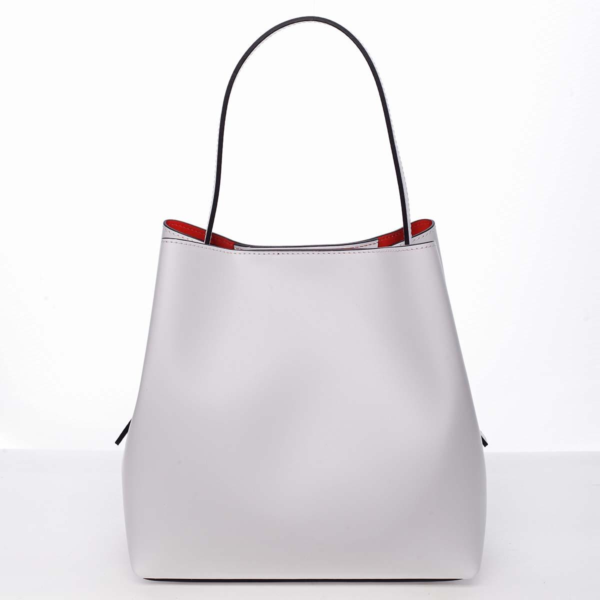 Dámska luxusná kožená kabelka biela - ItalY Hania biela