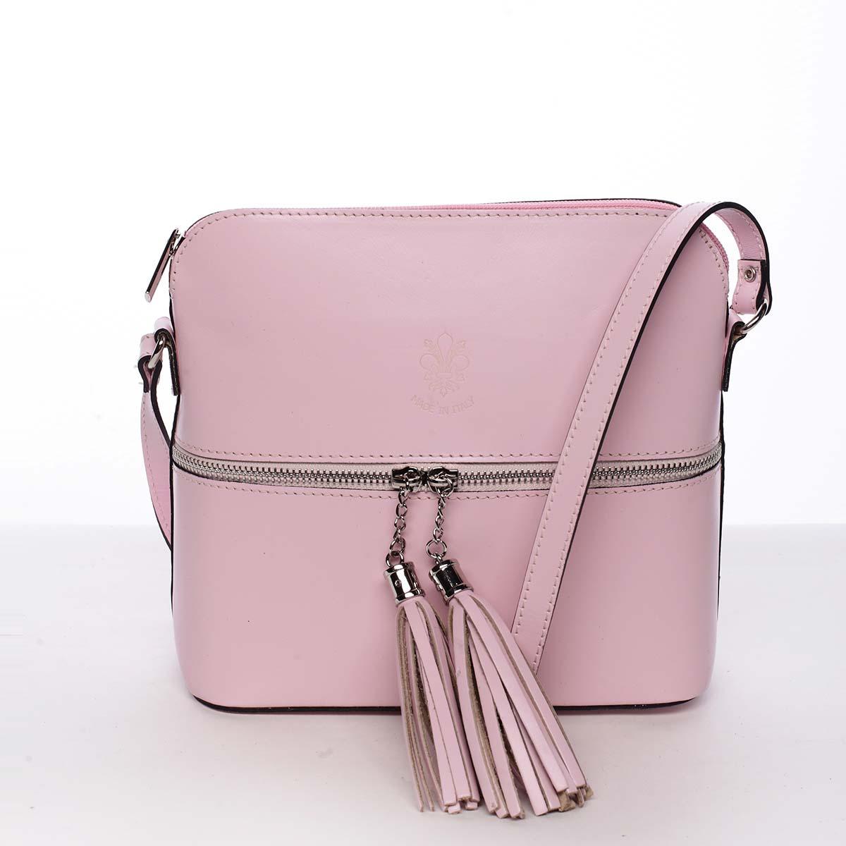 Módna dámska kožená crossbody kabelka ružová - ItalY Farzana ružová
