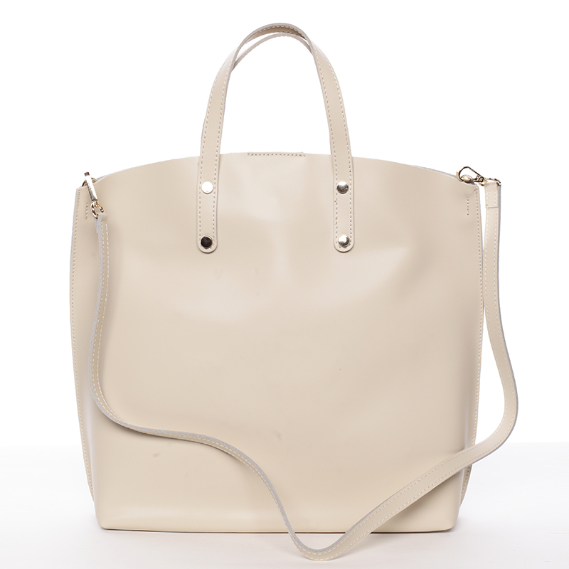 Dámska kožená kabelka do ruky svetlobéžová - ItalY Sydney béžová