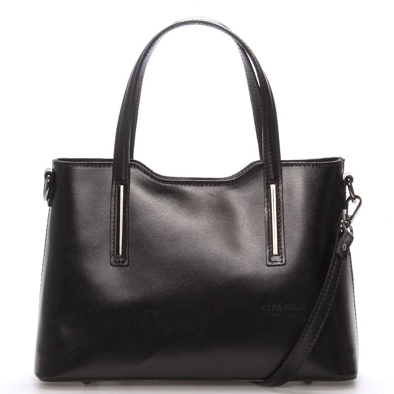 Menšia kožená kabelka čierna - ItalY Alex čierna