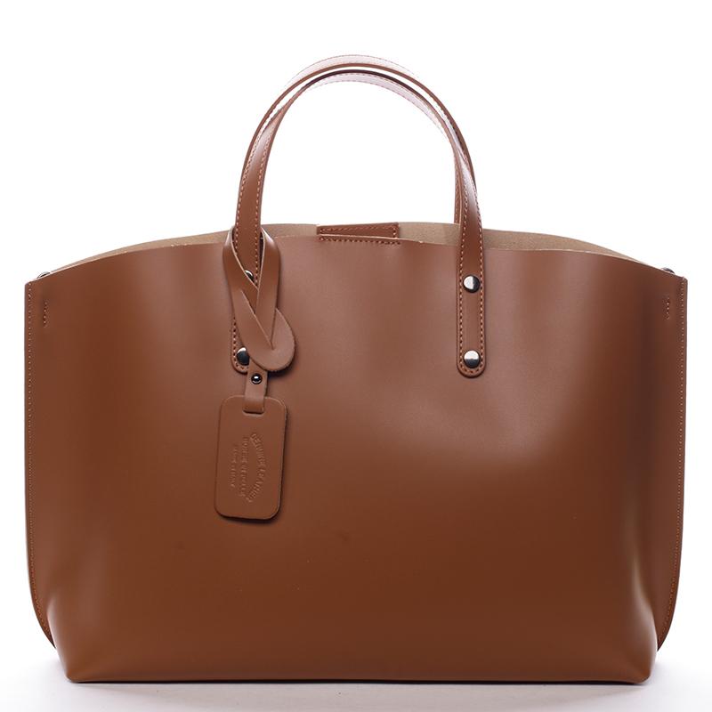 Dámska kožená kabelka camel - ItalY Jordana Camel