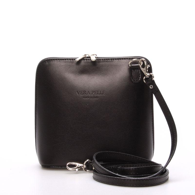 Dámska kožená crossbody kabelka čierna - ItalY Hannah čierna