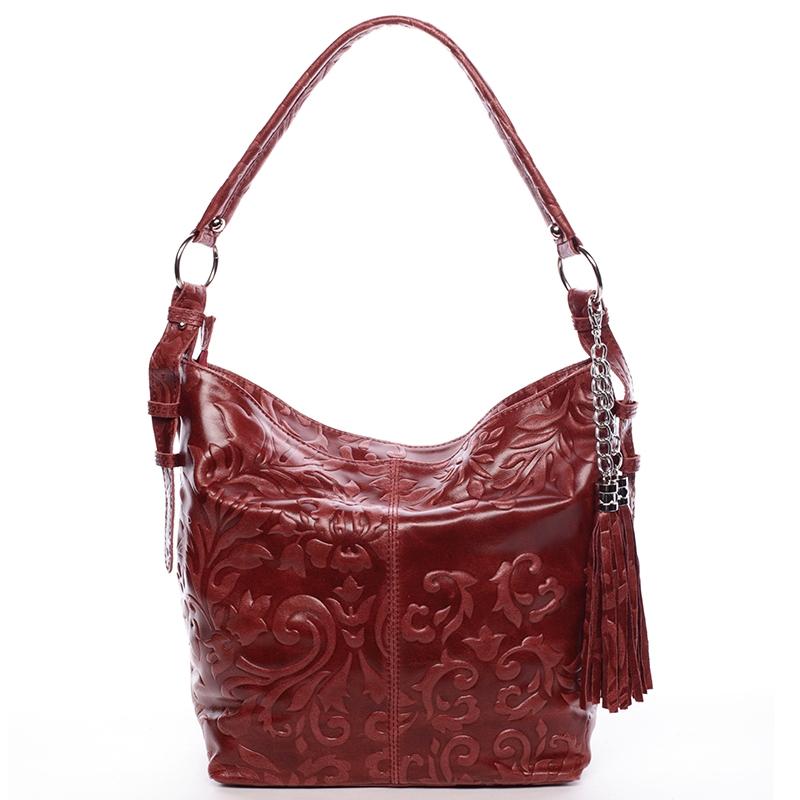 Dámska kožená kabelka cez rameno vínová - Italo Heather vínová