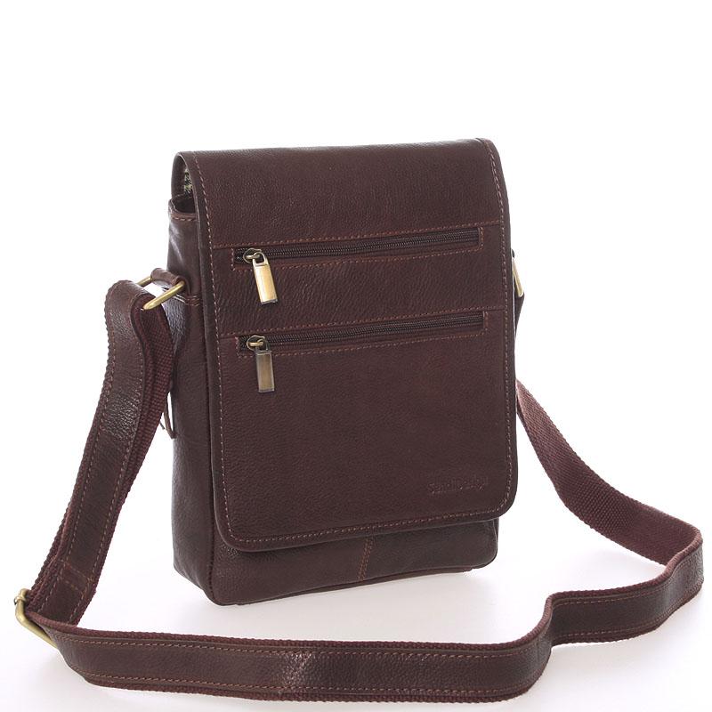 Módna pánska kožená taška cez rameno hnedá - SendiDesign Lycaon hnedá