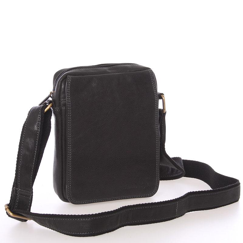 Pánska kožená taška na doklady cez rameno čierna - SendiDesign Dumont čierna