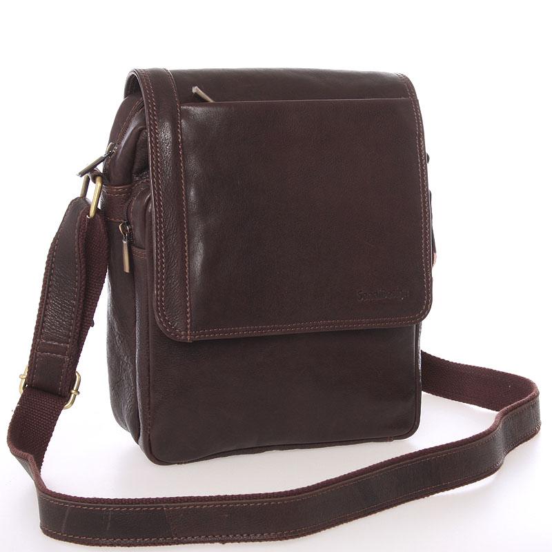 Módna pánska kožená taška cez plece hnedá - SendiDesign Sage hnedá