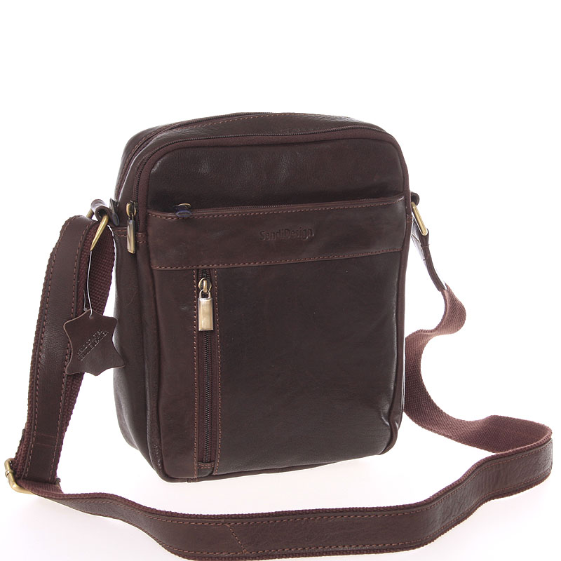 Štýlová pánska kožená taška cez plece hnedá - SendiDesign Loukanos hnedá