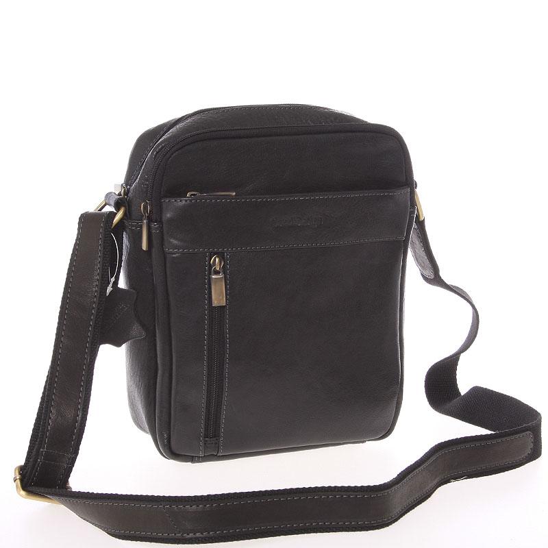 Štýlová pánska kožená taška cez rameno čierna - SendiDesign Loukanos čierna