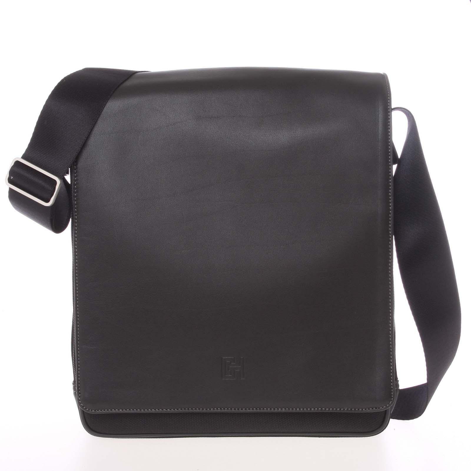 Štýlová pánska kožená taška cez rameno čierna - Gerard HENON Mikola čierna