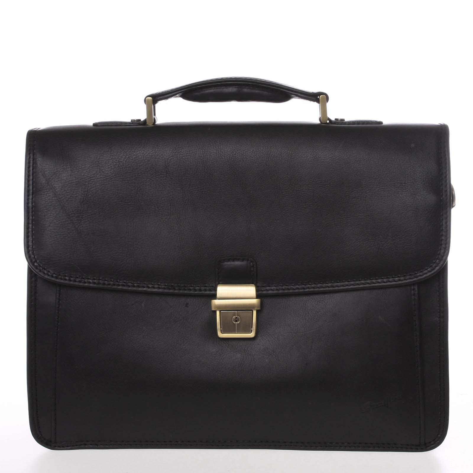 Luxusná elegantná kožená aktovka čierna - Gerard HENON Bravis čierna