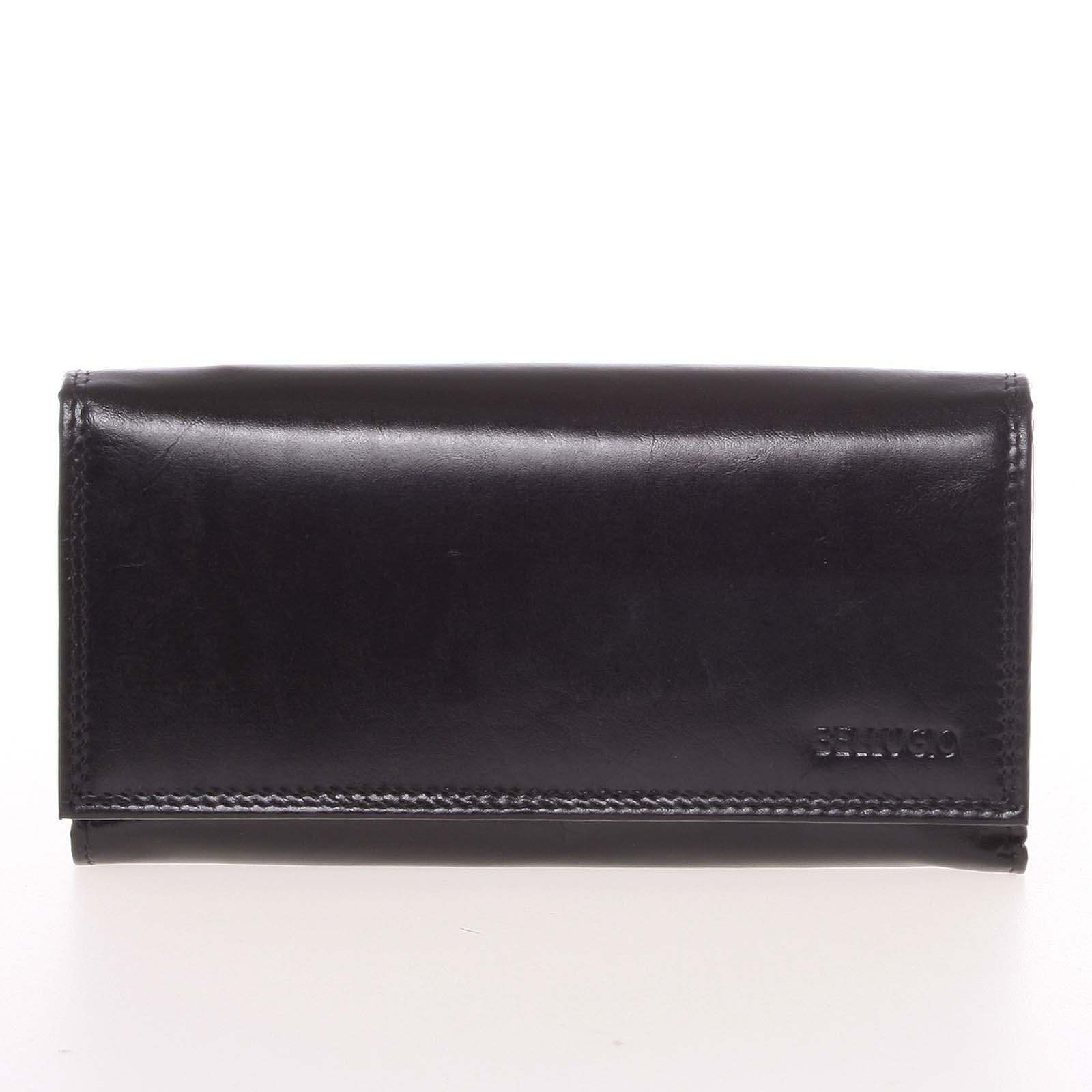 Veľká dámska čierna kožená peňaženka - Bellugio Omega čierna