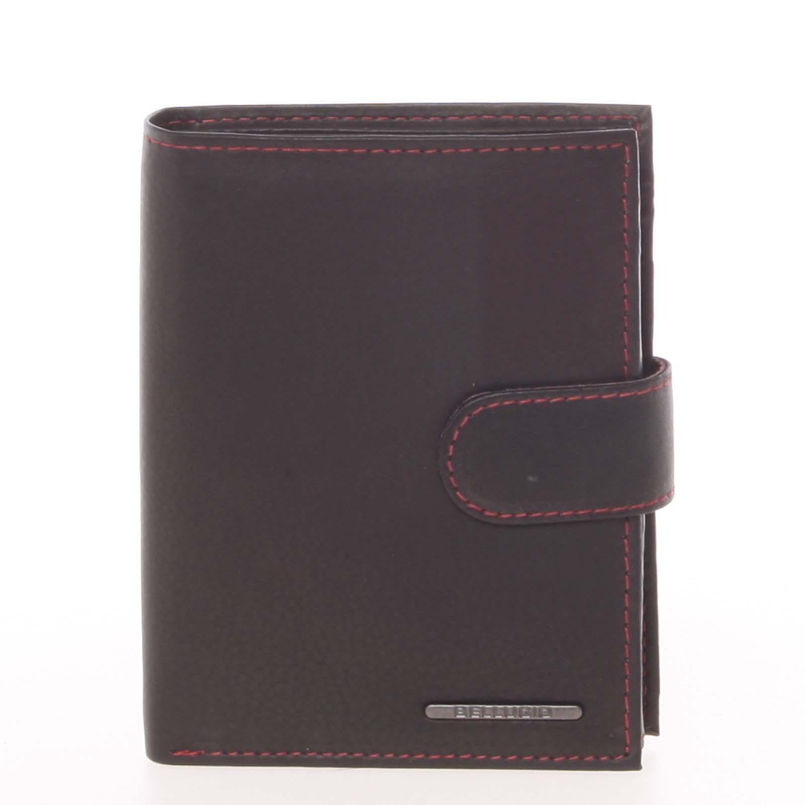 Prešívaná kožená peňaženka čierna - Bellugio Palaemon čierna