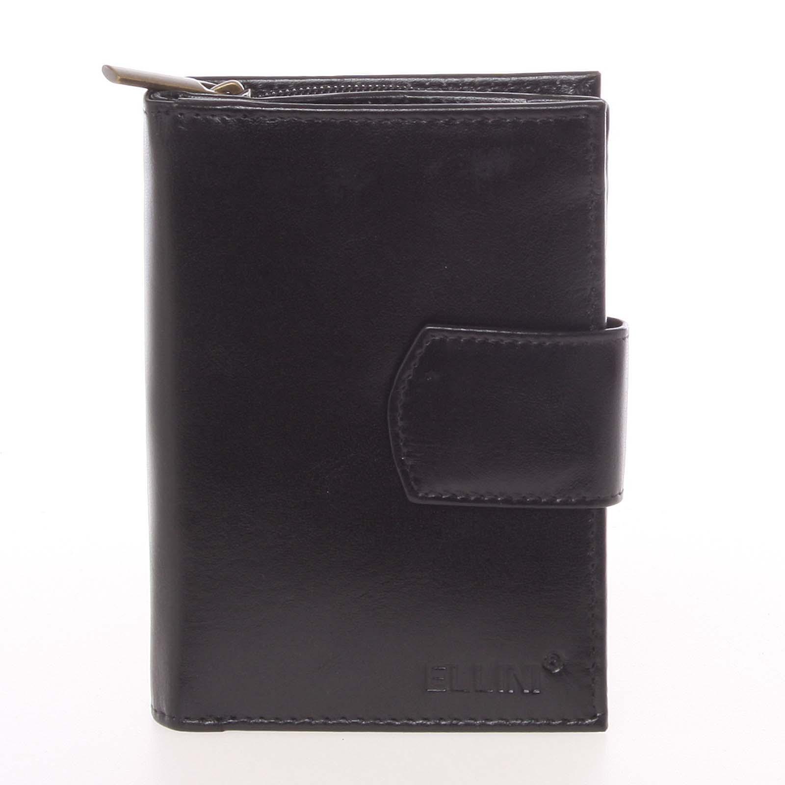 Veľká dámska čierna kožená peňaženka - Ellini Ophelia čierna