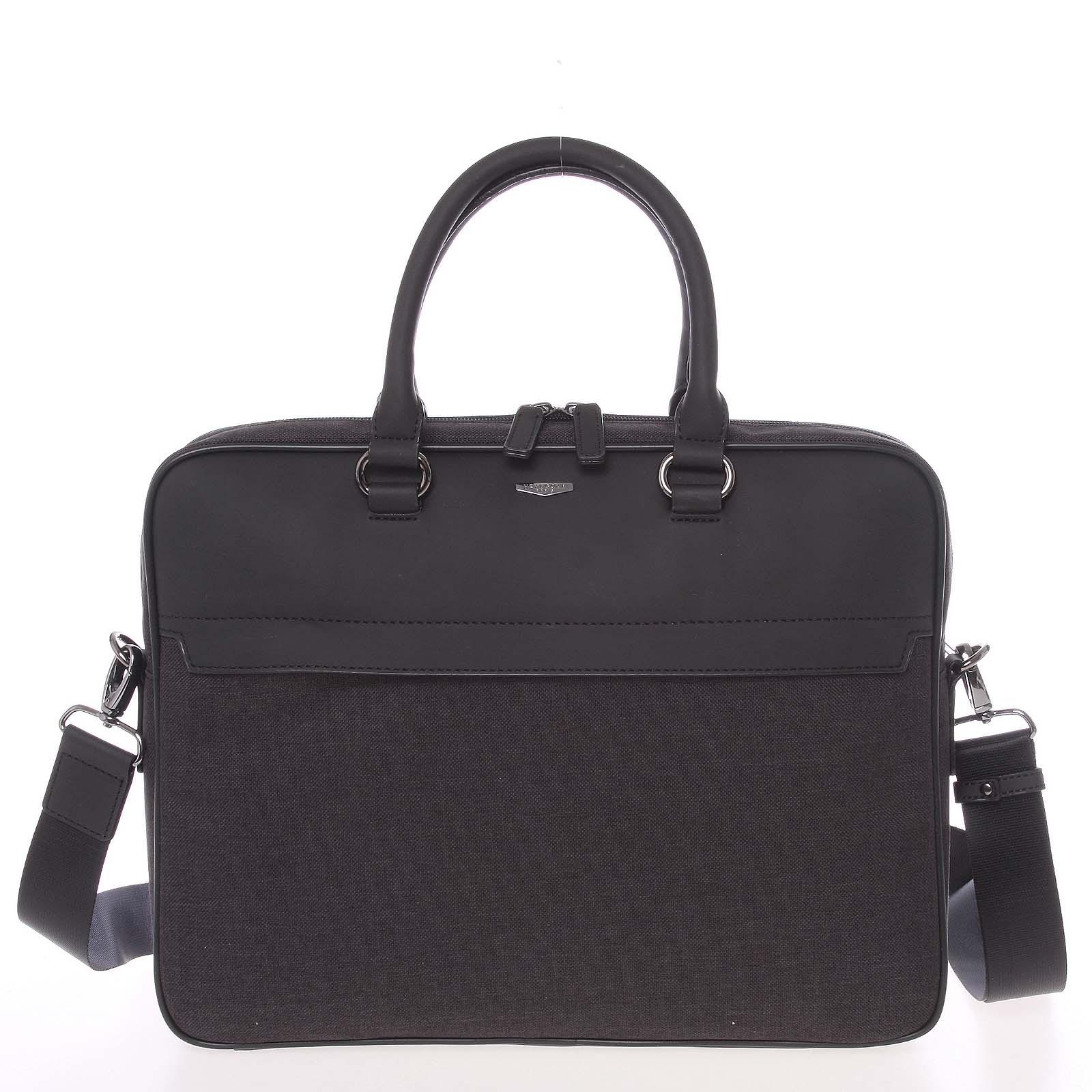Polokožená šivo-čierna taška na notebook - Hexagona Pearly šedá