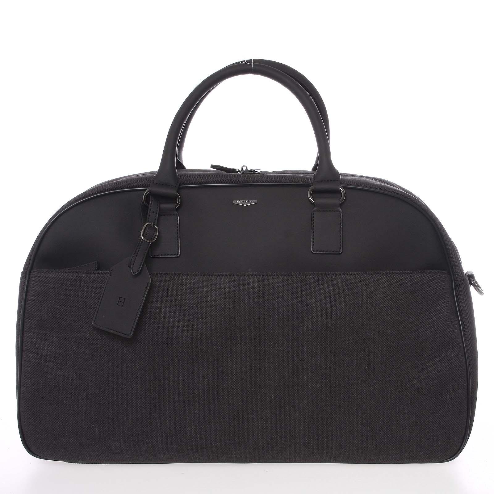 Veľká šedá luxusné polokožené cestovná taška - Hexagona Liberte šedá