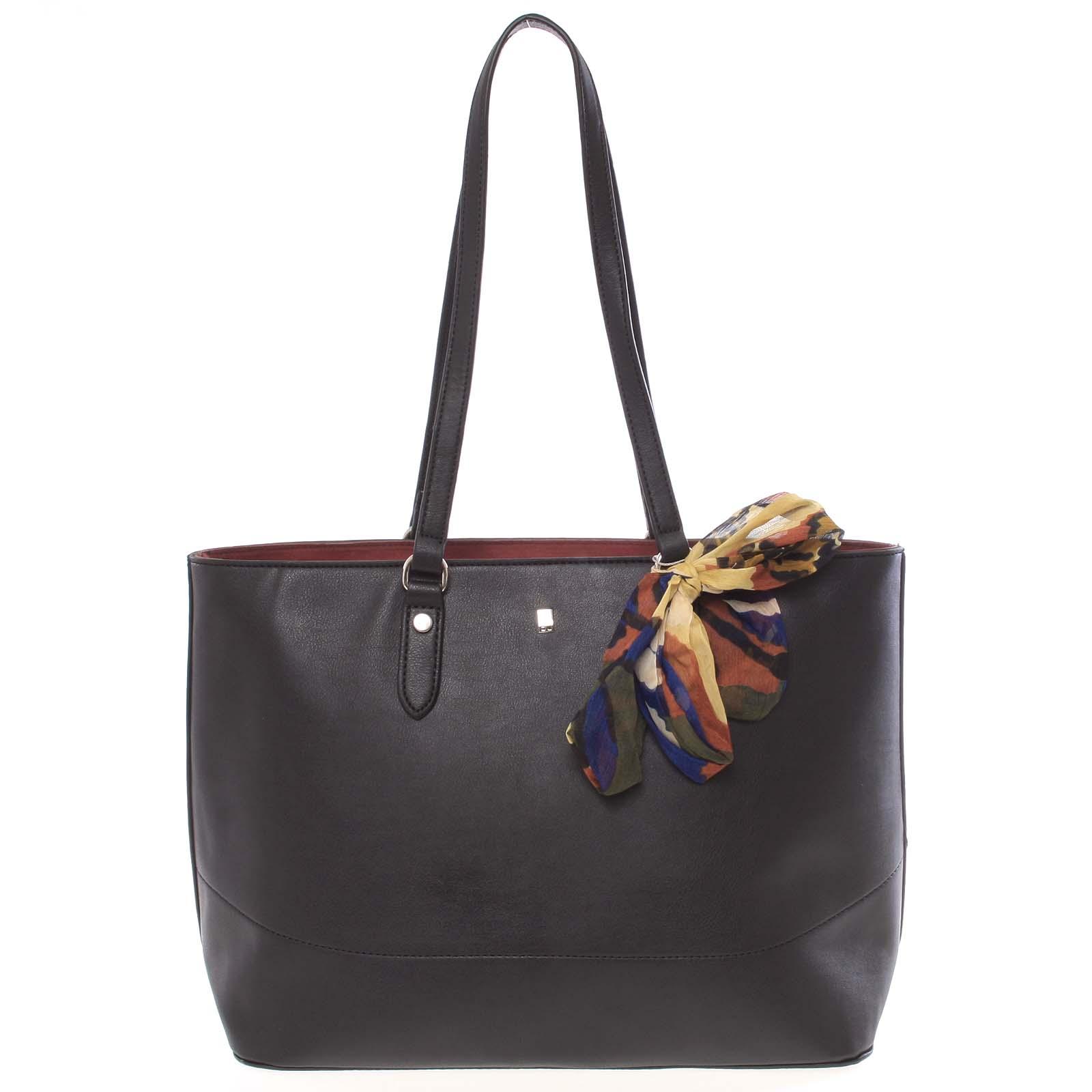 Elegantná priestranná čierna dámska kabelka cez rameno - David Jones Abdera čierna