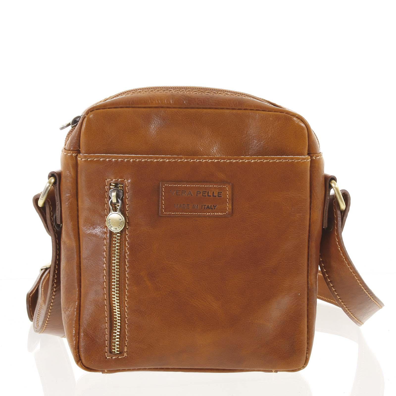 Kvalitné svetlo hnedá kožená pánska taška cez rameno - ItalY Sollis hnedá