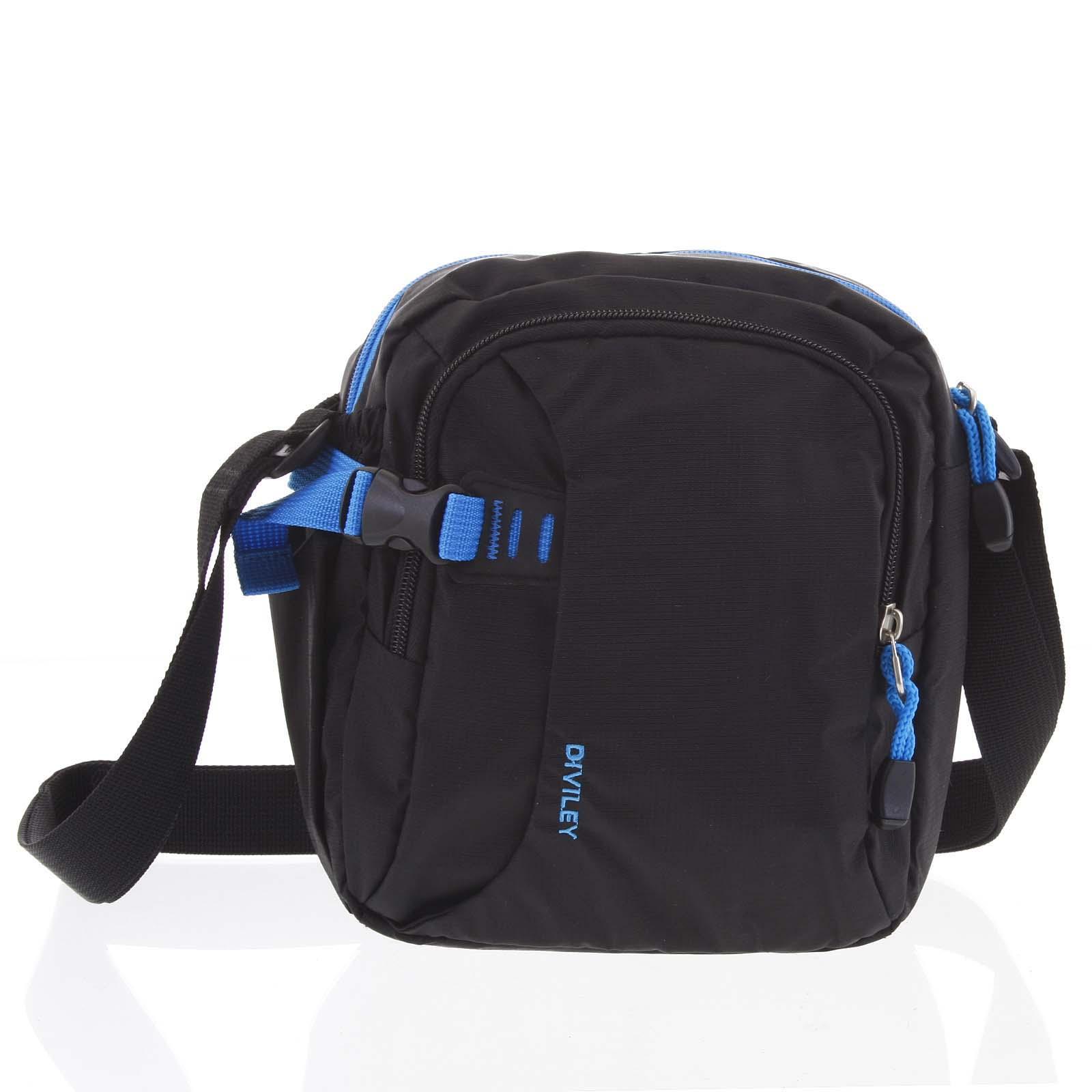 Čierno-modrá taška cez rameno Diviley Cecil modrá