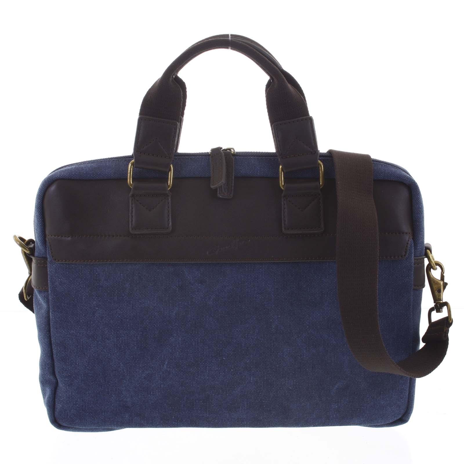 Luxusná pánska taška s koženými detailmi modrá - Gerard Henon Lonel modrá