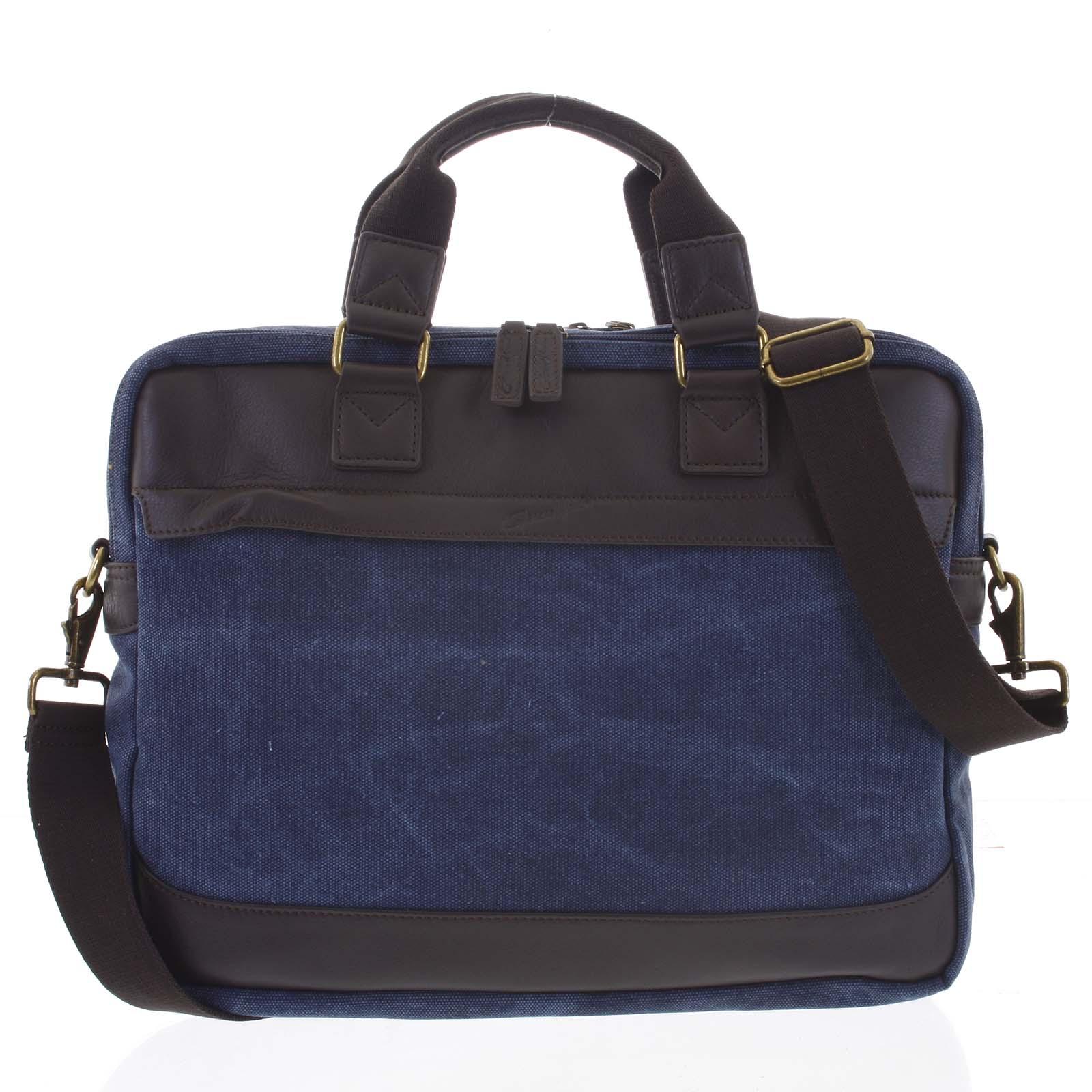 Luxusná stredná pánska taška s koženými detailmi modrá - Gerard Henon Baron modrá