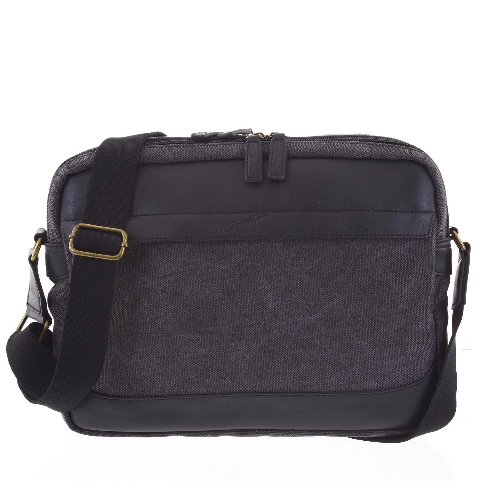 Moderná pánska taška s koženými detailmi čierna - Gerard Henon Telfor čierna