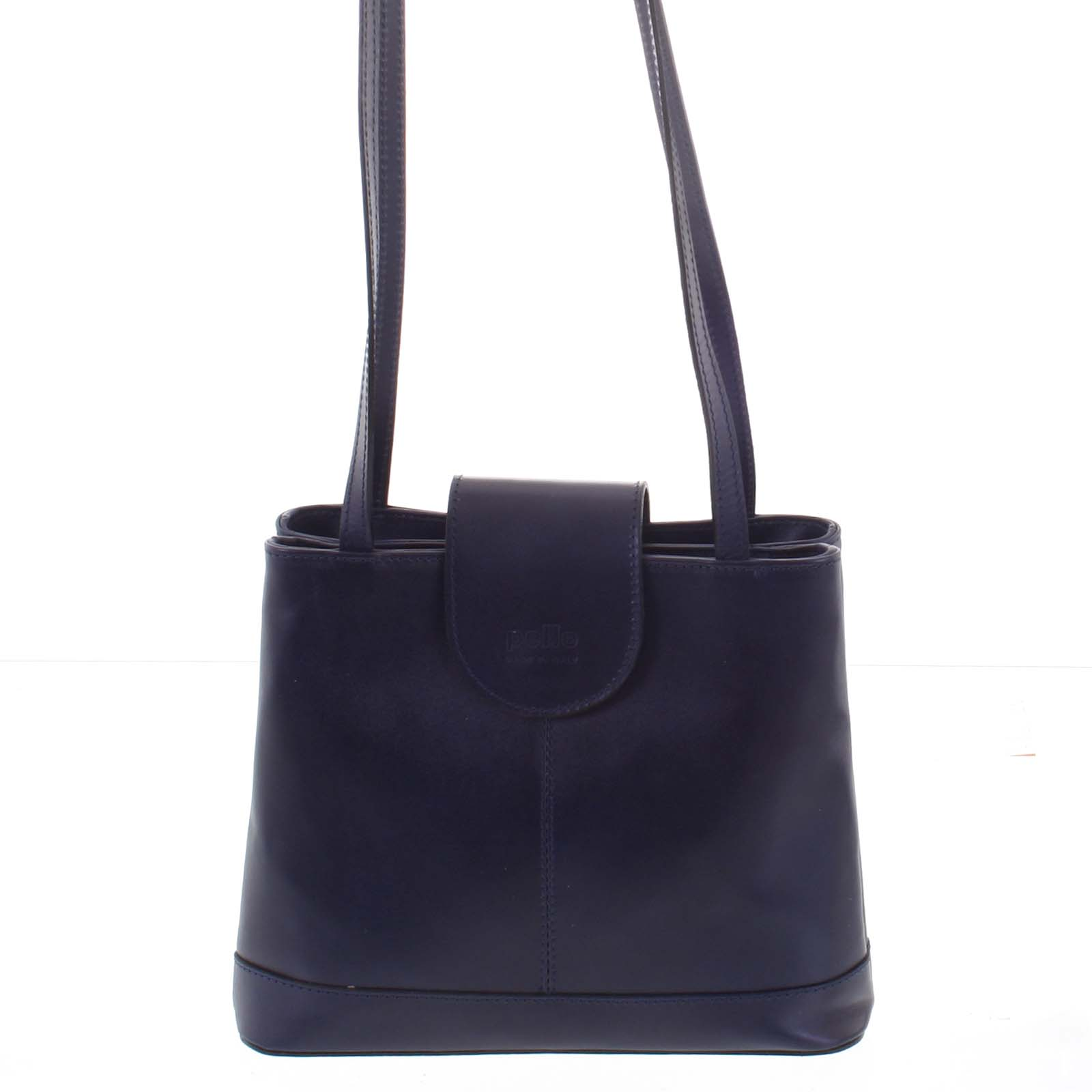 Kožená dámska tmavo modrá kabelka cez rameno - ItalY Zenna modrá