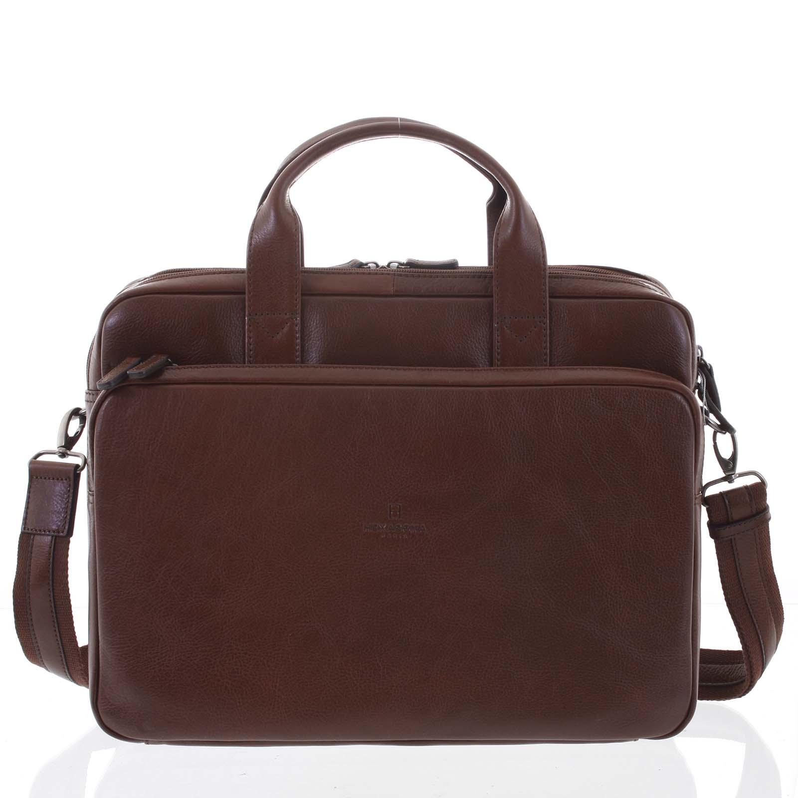 Luxusná hnedá prešívaná kožená taška - Hexagona Adonis hnedá