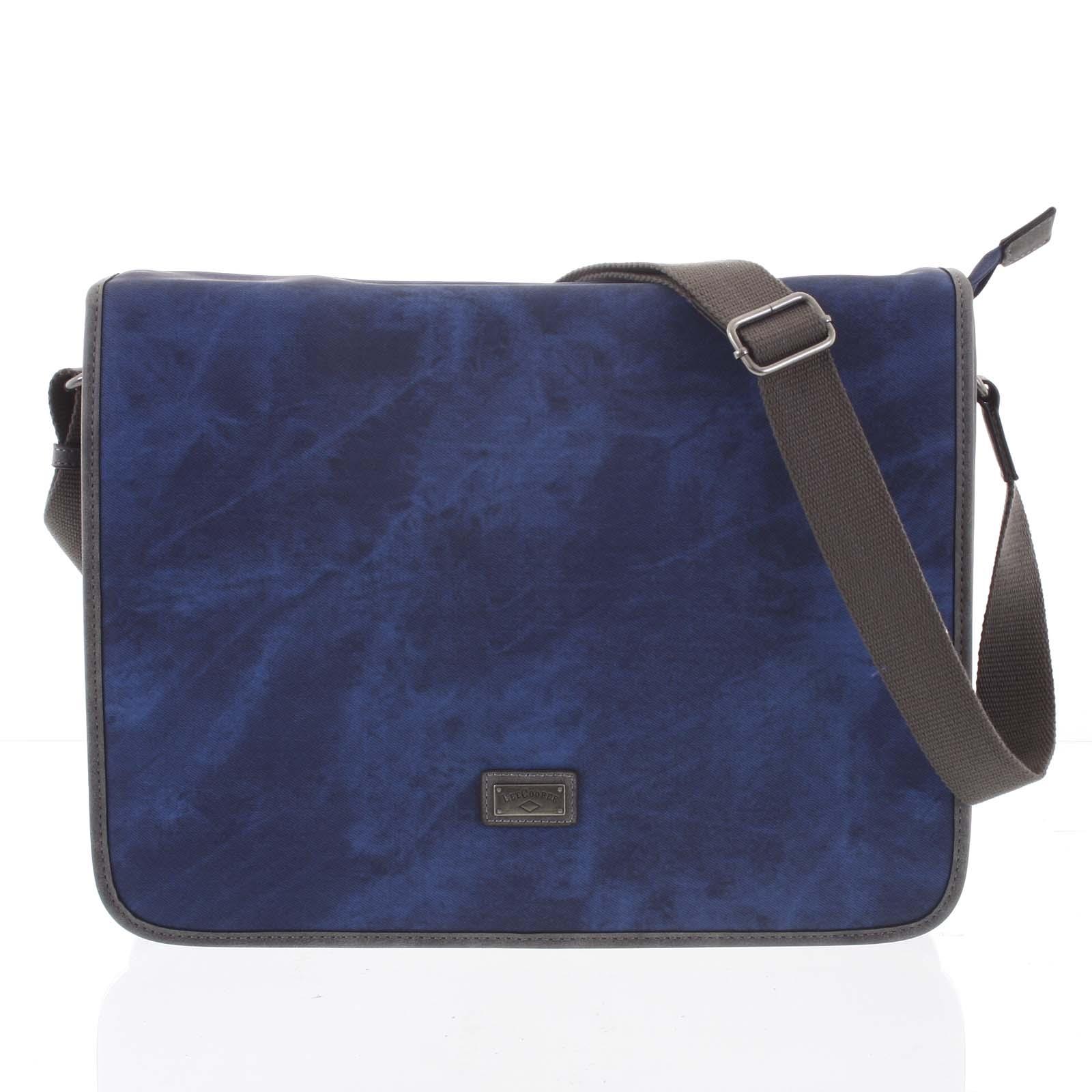 Veľká modrá moderná taška na notebook - Lee Cooper Aesculapius modrá