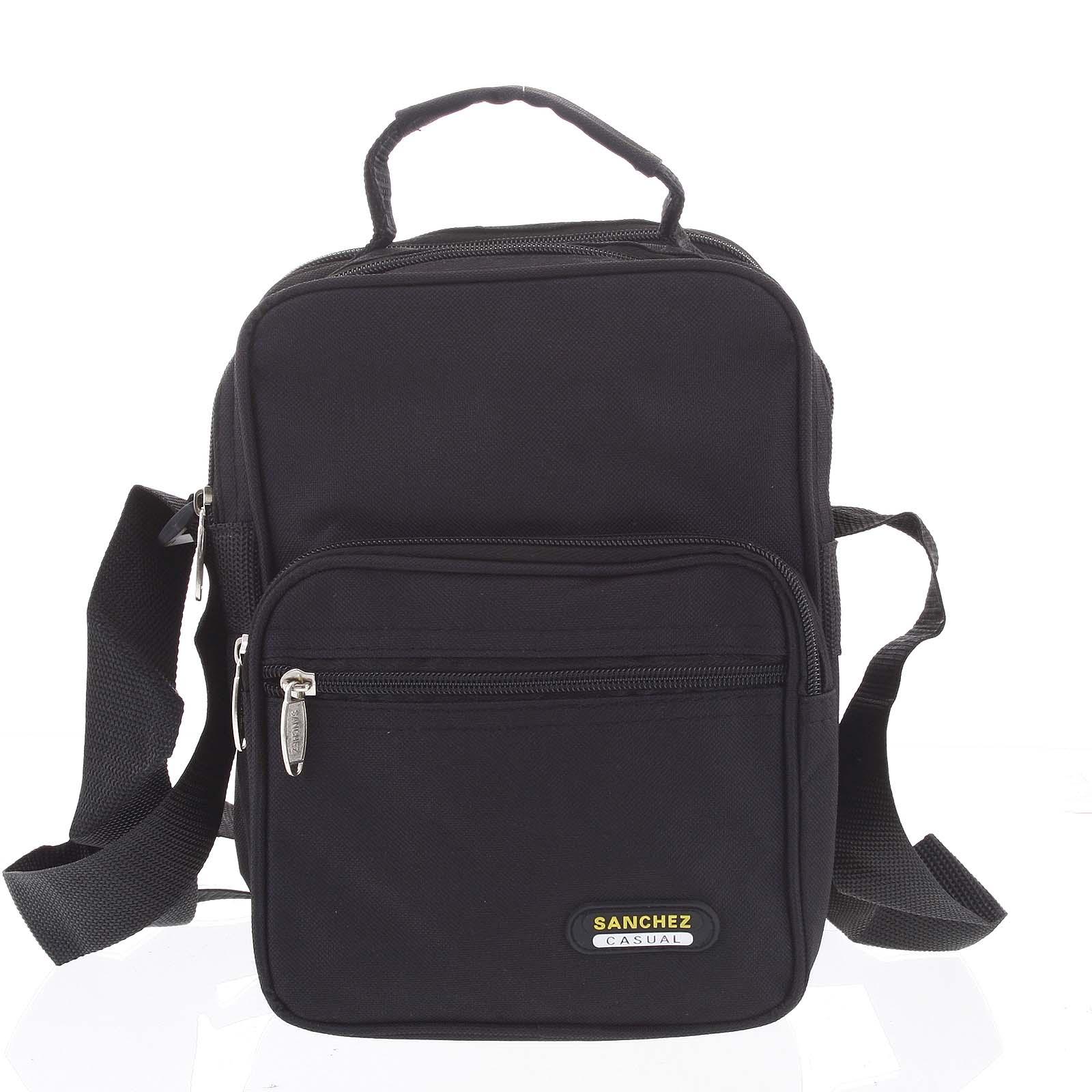 Menšia pánska látková čierna taška cez rameno - Sanchez Torbos čierna