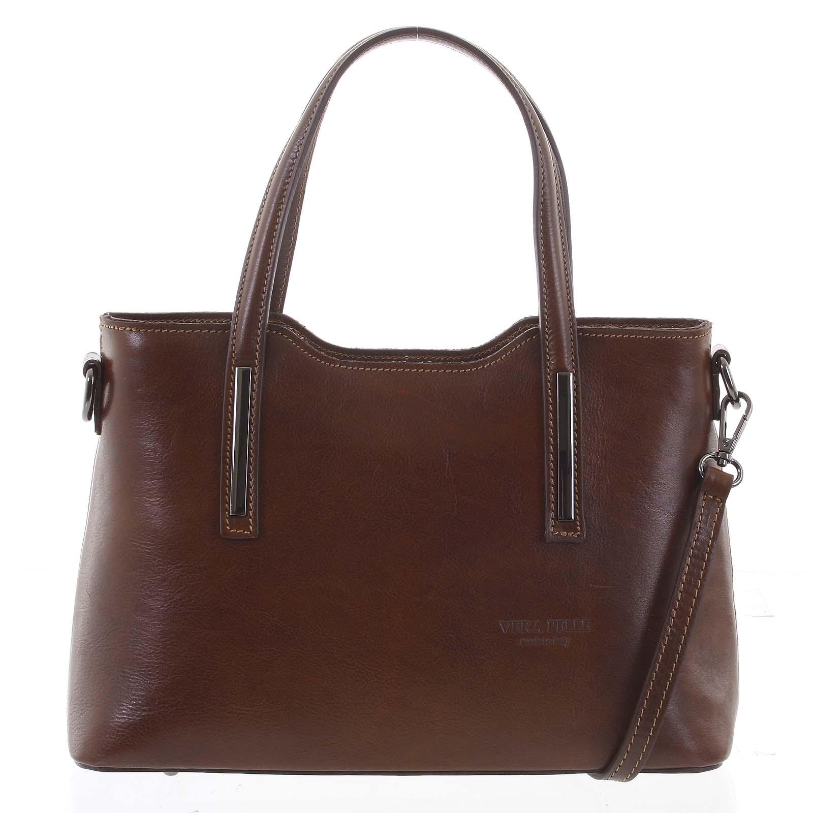 Stredná pevná kožená kabelka hnedá do ruky - ItalY Aello hnedá