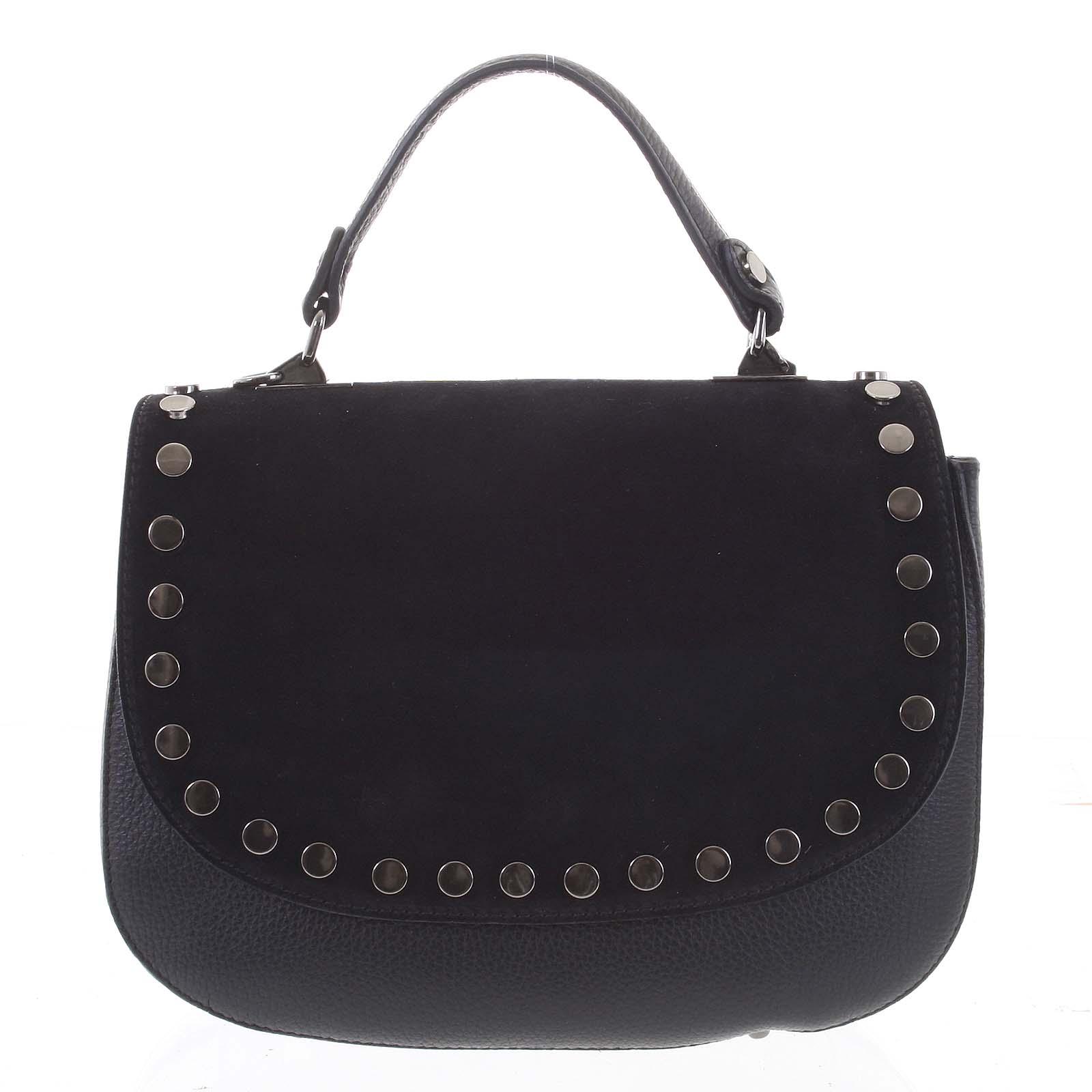 Originálna zaguľatená čierna kabelka do ruky semiš - ItalY Aethra čierna