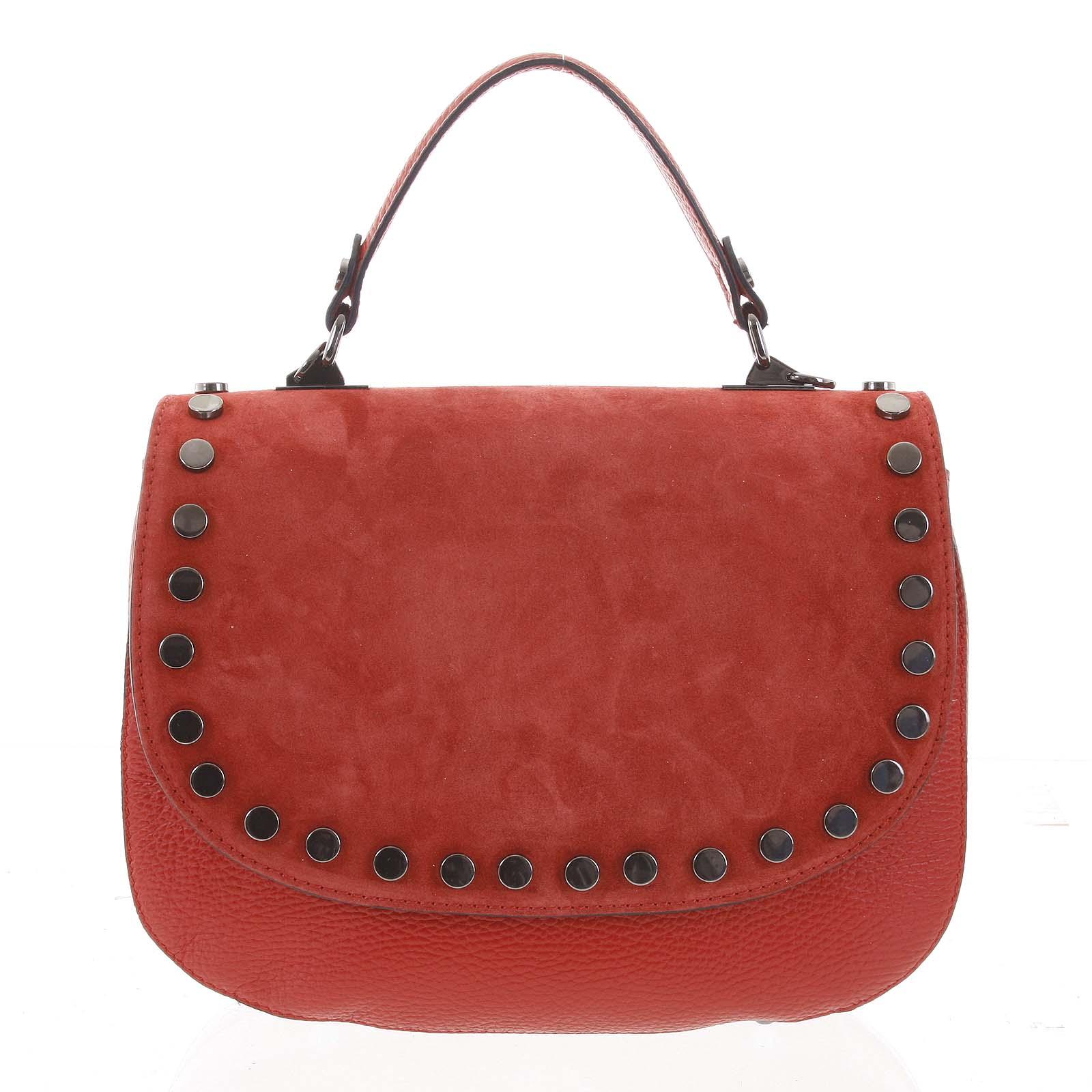 Originálna zaguľatená červená kabelka do ruky semiš - ItalY Aethra červená