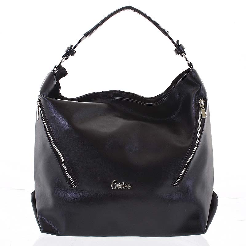 Elegantná mäkká kabelka cez rameno čierna - Carine Avalina čierna
