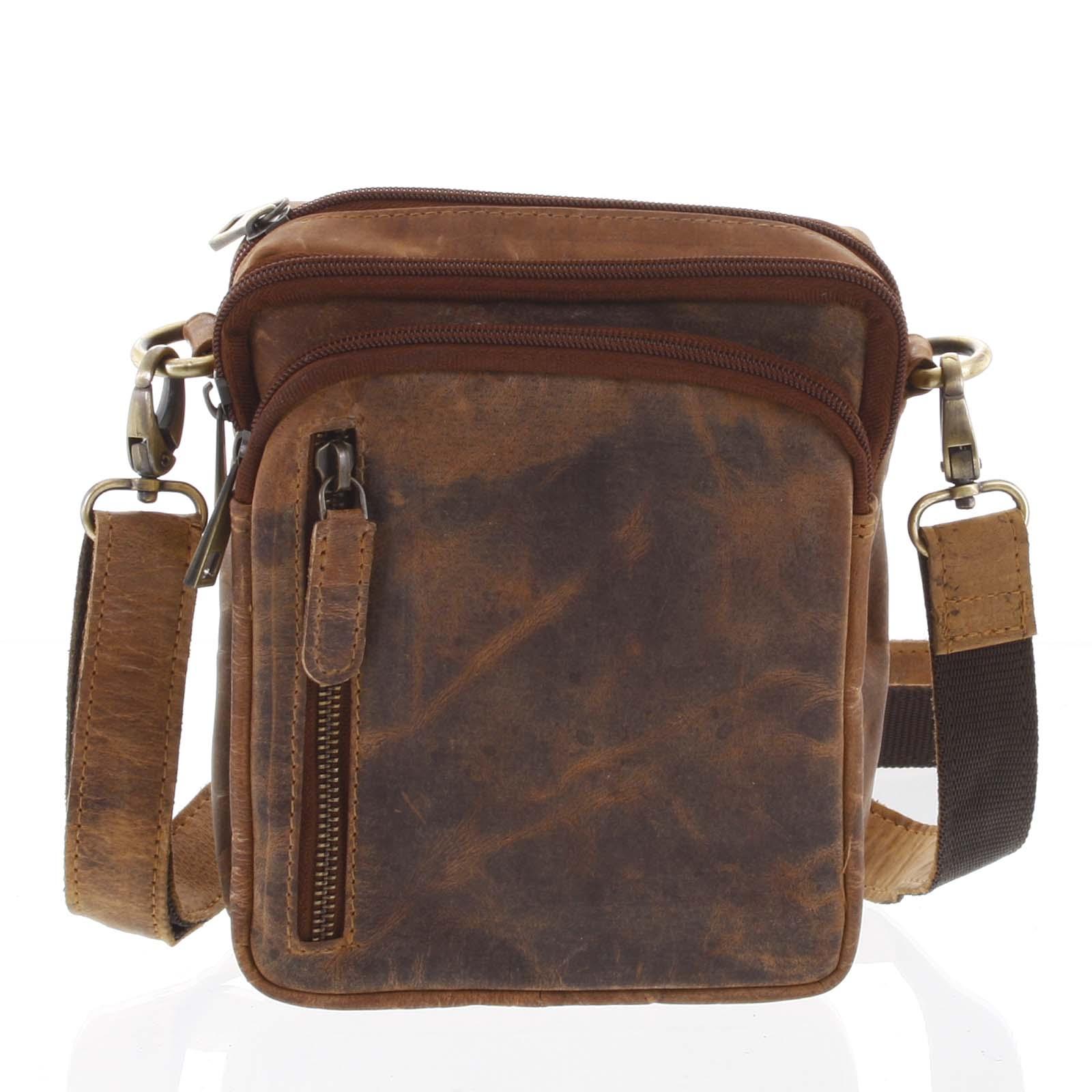 Prírodná hnedá pánska kožená taška na doklady - Tomas Svemir hnedá